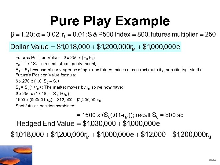 Pure Play Example Futures Position Value = 6 x 250 x (F 0 -F