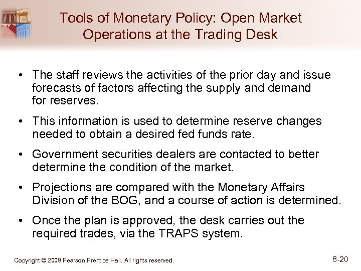 Tools of Monetary Policy: Open Market Operations at the Trading Desk • The staff