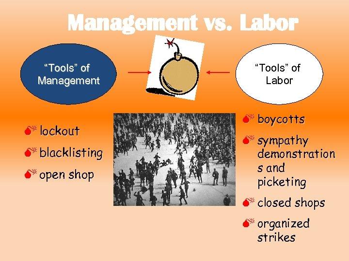 "Management vs. Labor ""Tools"" of Management M lockout M blacklisting M open shop ""Tools"""