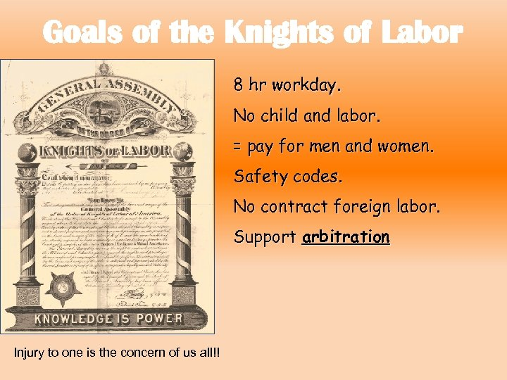Goals of the Knights of Labor 8 hr workday. No child and labor. =