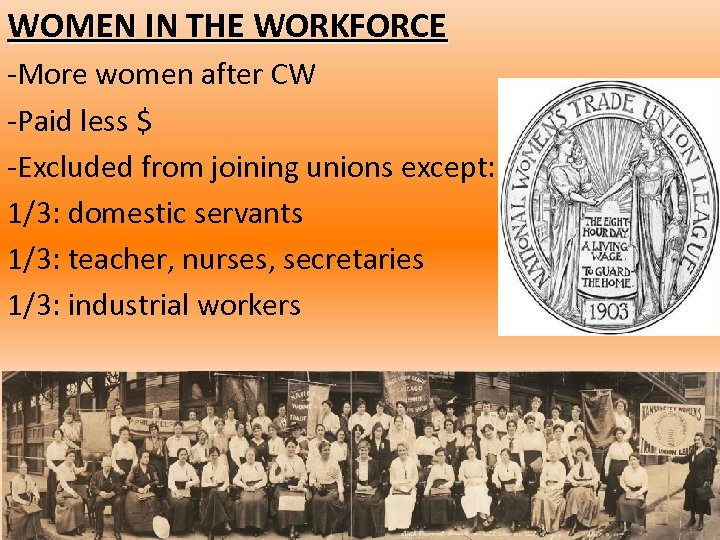 WOMEN IN THE WORKFORCE -More women after CW -Paid less $ -Excluded from joining