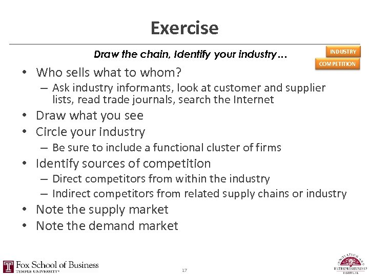 Exercise Draw the chain, Identify your industry… • Who sells what to whom? INDUSTRY