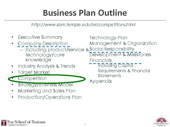 Business Plan Outline http: //www. sbm. temple. edu/iei/competitions. html • Executive Summary Technology Plan