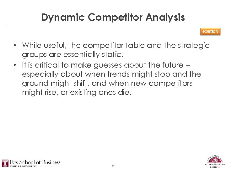 Dynamic Competitor Analysis POSITION • While useful, the competitor table and the strategic groups
