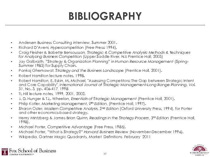 BIBLIOGRAPHY • • • • Andersen Business Consulting interview, Summer 2001. Richard D'Aveni, Hypercompetition