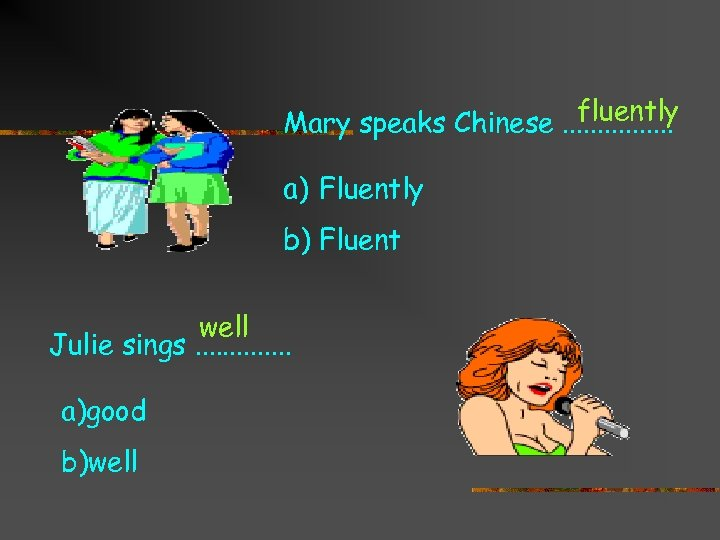fluently Mary speaks Chinese. . . . a) Fluently b) Fluent well Julie sings.