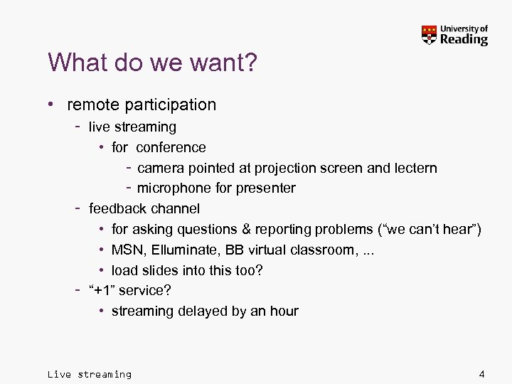 What do we want? • remote participation – live streaming • for conference –