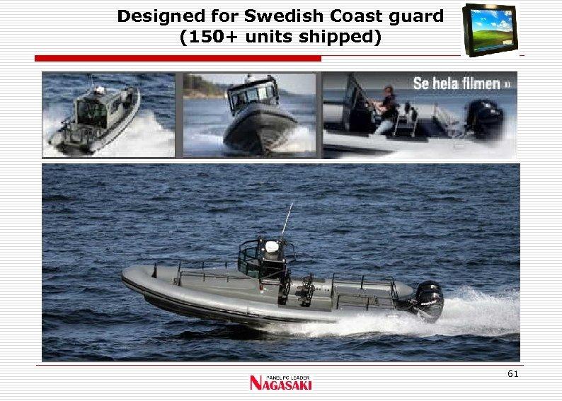 Designed for Swedish Coast guard (150+ units shipped) 61