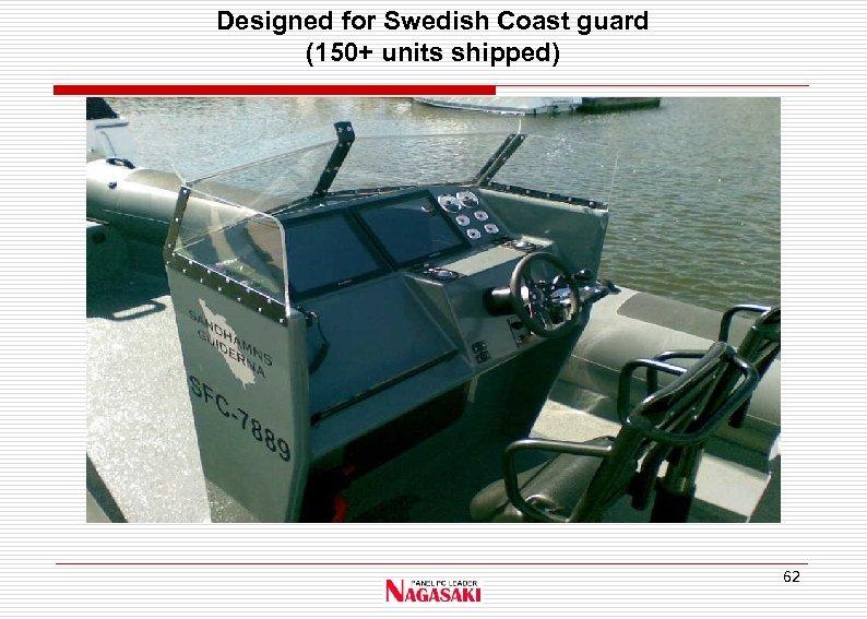 Designed for Swedish Coast guard (150+ units shipped) 62