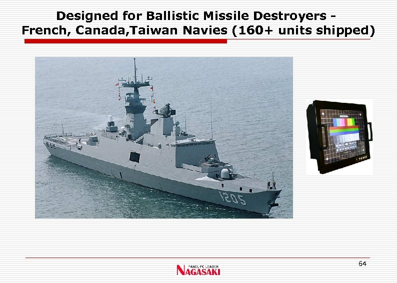 Designed for Ballistic Missile Destroyers French, Canada, Taiwan Navies (160+ units shipped) 64