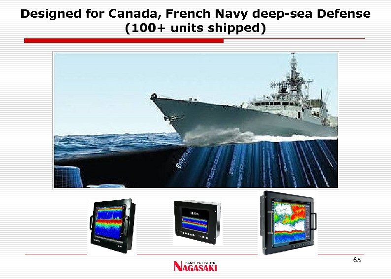 Designed for Canada, French Navy deep-sea Defense (100+ units shipped) 65
