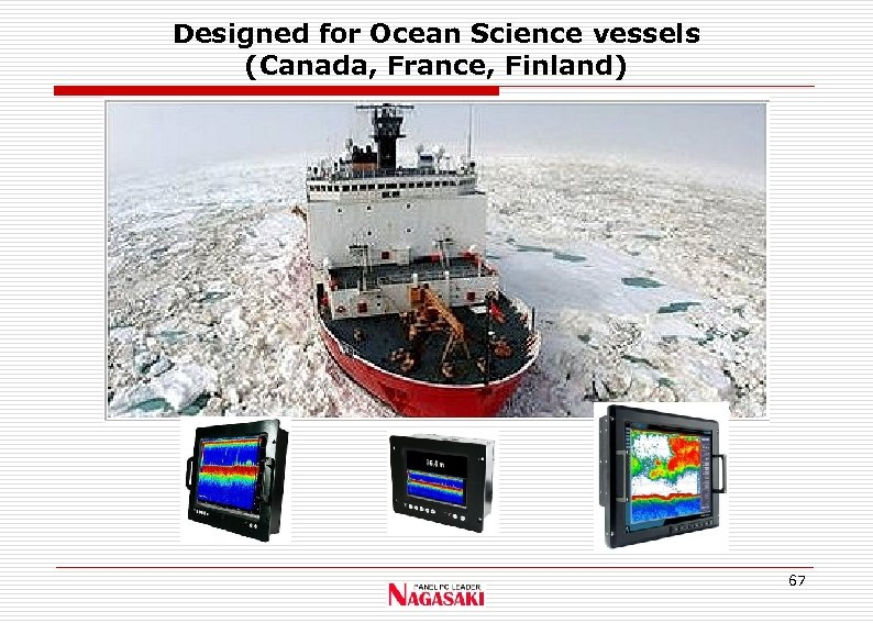 Designed for Ocean Science vessels (Canada, France, Finland) 67
