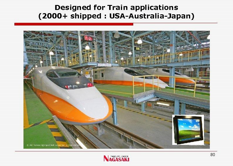 Designed for Train applications (2000+ shipped : USA-Australia-Japan) 80