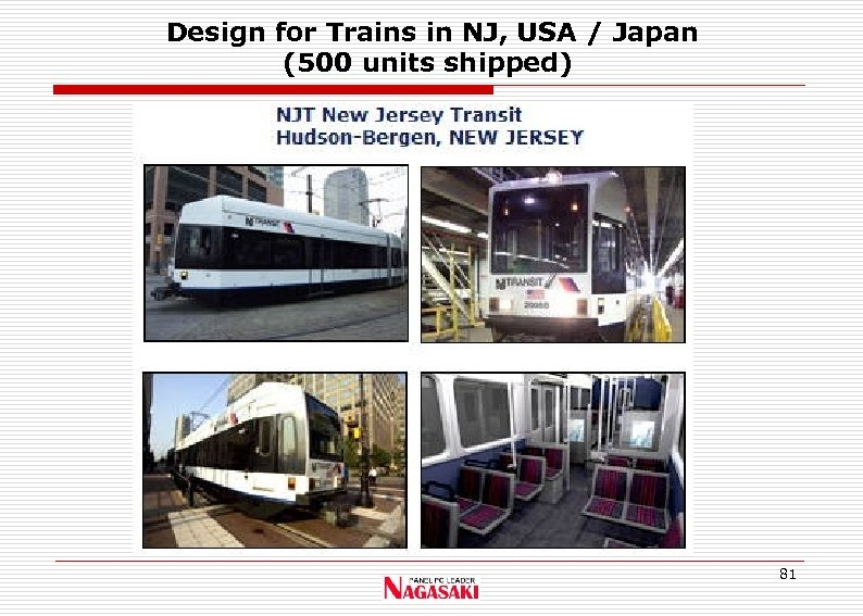 Design for Trains in NJ, USA / Japan (500 units shipped) 81
