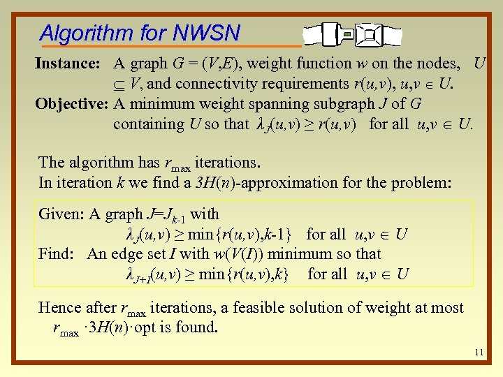 Algorithm for NWSN Instance: A graph G = (V, E), weight function w on