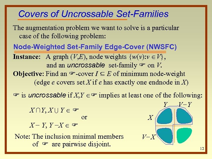 Covers of Uncrossable Set-Families The augmentation problem we want to solve is a particular