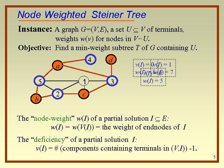 Node Weighted Steiner Tree Instance: A graph G=(V, E), a set U V of