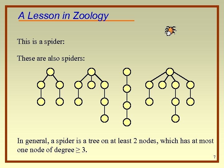 A Lesson in Zoology This is a spider: These are also spiders: In general,