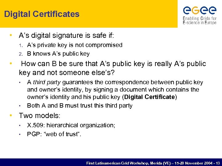 Digital Certificates • A's digital signature is safe if: 1. 2. • A's private
