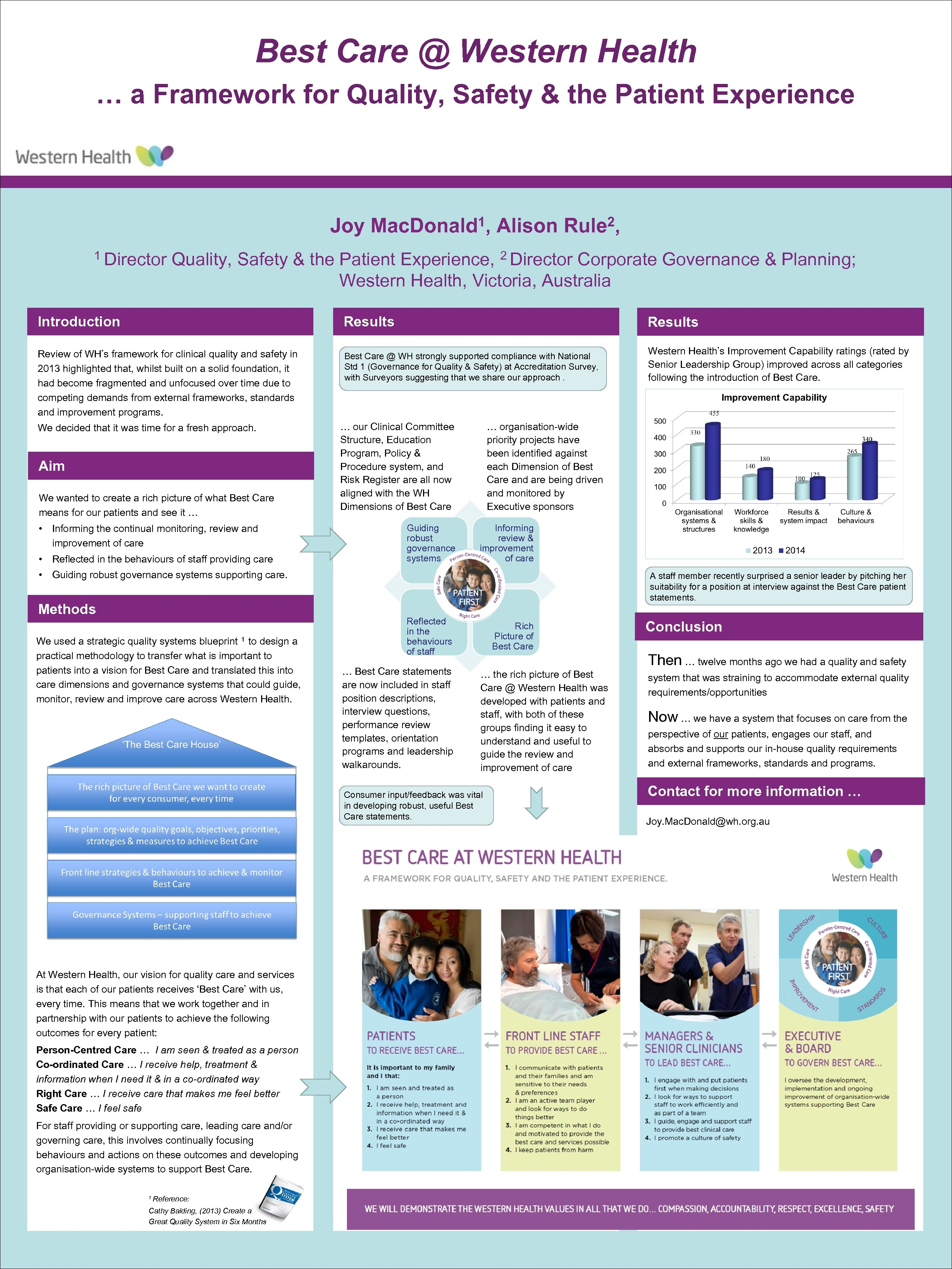Best Care @ Western Health … a Framework for Quality, Safety & the Patient
