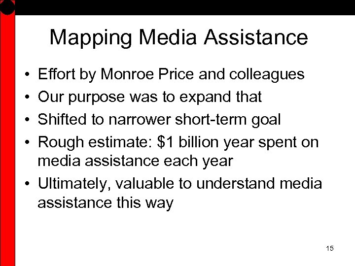 Mapping Media Assistance • • Effort by Monroe Price and colleagues Our purpose was