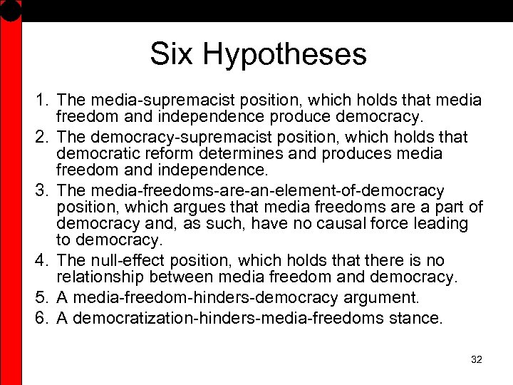 Six Hypotheses 1. The media-supremacist position, which holds that media freedom and independence produce