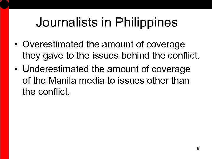 Journalists in Philippines • Overestimated the amount of coverage they gave to the issues