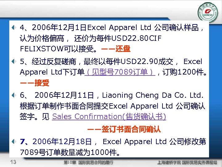 4、2006年 12月1日Excel Apparel Ltd 公司确认样品, 认为价格偏高, 还价为每件USD 22. 80 CIF FELIXSTOW可以接受。——还盘 5、经过反复磋商,最终以每件USD 22. 90成交,