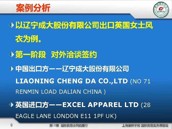 案例分析 以辽宁成大股份有限公司出口英国女士风 衣为例。 第一阶段 对外洽谈签约 中国出口方——辽宁成大股份有限公司 LIAONING CHENG DA CO. , LTD (NO 71