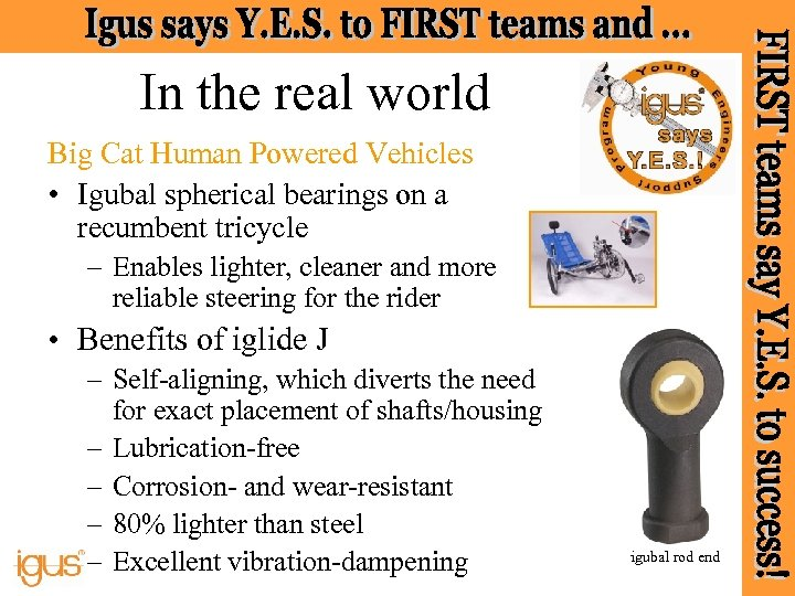 In the real world Big Cat Human Powered Vehicles • Igubal spherical bearings on