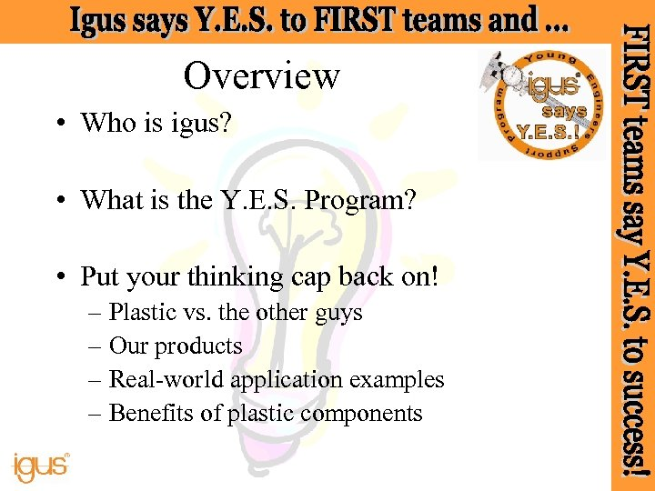 Overview • Who is igus? • What is the Y. E. S. Program? •