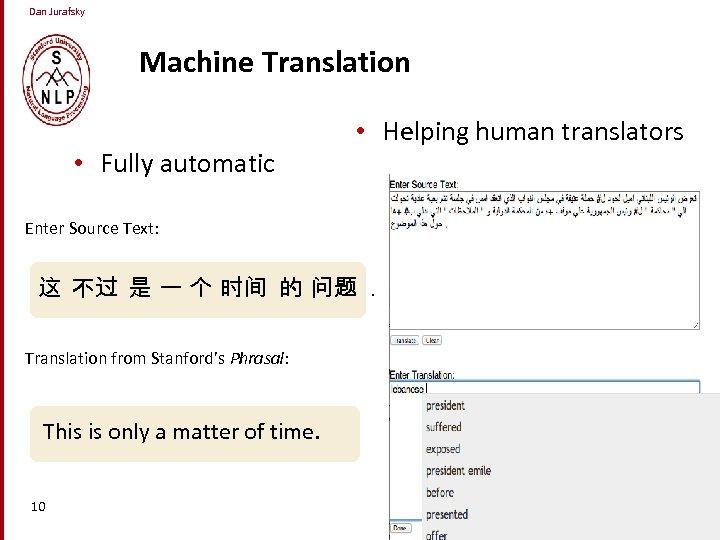 Dan Jurafsky Machine Translation • Fully automatic • Helping human translators Enter Source Text: