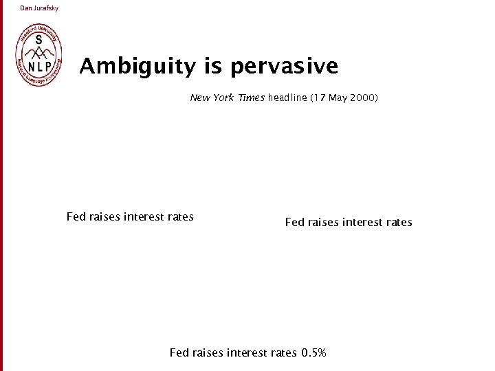 Dan Jurafsky Ambiguity is pervasive New York Times headline (17 May 2000) Fed raises
