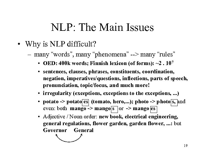 """NLP: The Main Issues • Why is NLP difficult? – many """"words"""", many """"phenomena"""""""