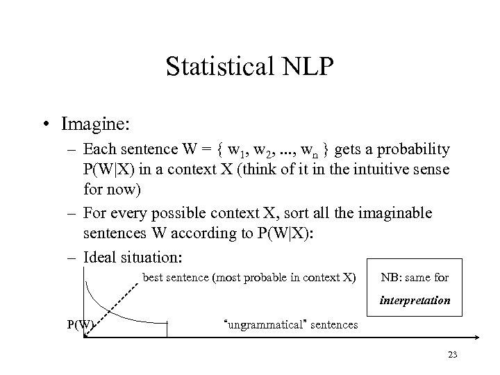Statistical NLP • Imagine: – Each sentence W = { w 1, w 2,
