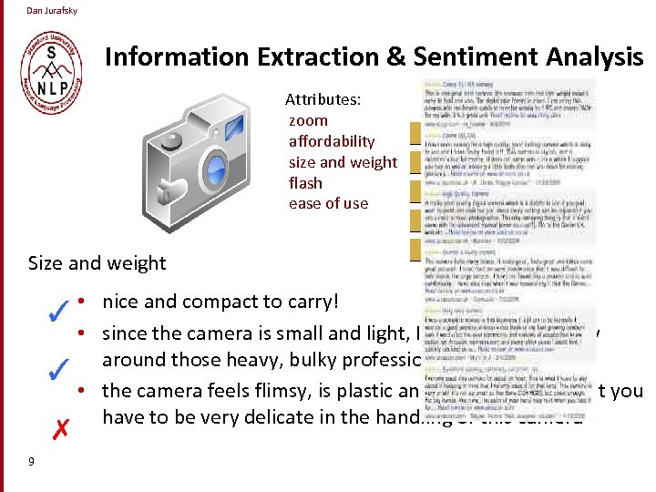 Dan Jurafsky Information Extraction & Sentiment Analysis Attributes: zoom affordability size and weight flash