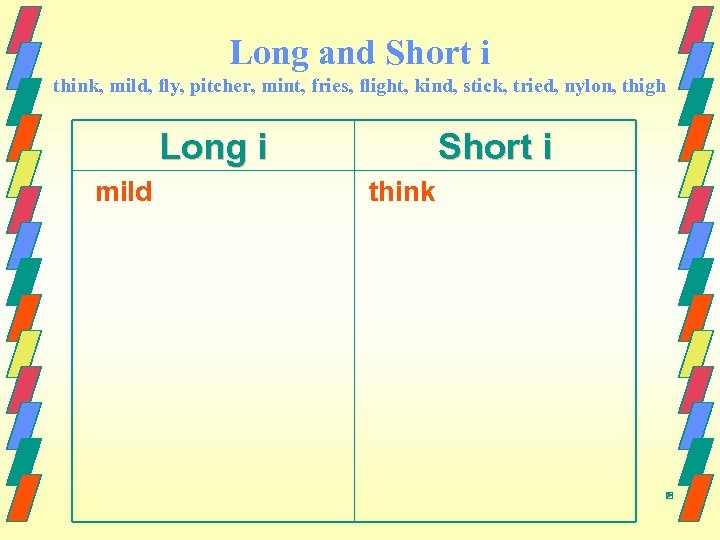 Long and Short i think, mild, fly, pitcher, mint, fries, flight, kind, stick, tried,