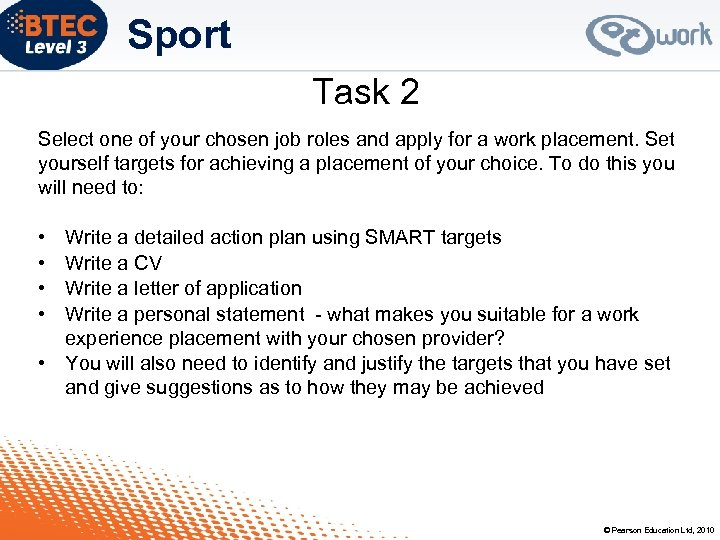 Sport Task 2 Select one of your chosen job roles and apply for a