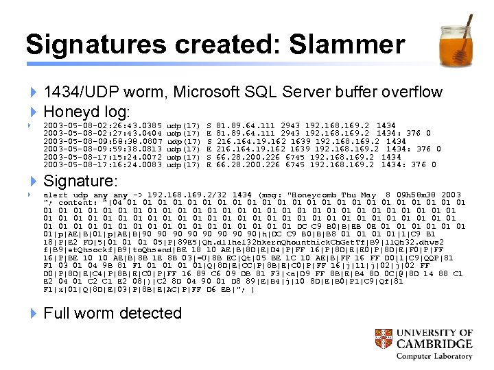Signatures created: Slammer 4 1434/UDP worm, Microsoft SQL Server buffer overflow 4 Honeyd log:
