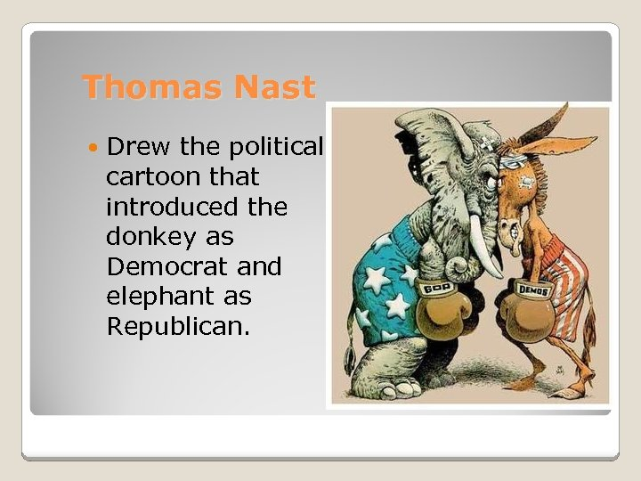 Thomas Nast Drew the political cartoon that introduced the donkey as Democrat and elephant