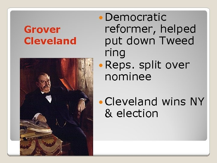 Grover Cleveland Democratic reformer, helped put down Tweed ring Reps. split over nominee Cleveland