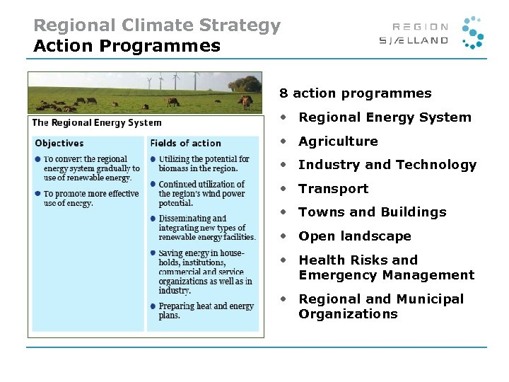 Regional Climate Strategy Action Programmes 8 action programmes • Regional Energy System • Agriculture