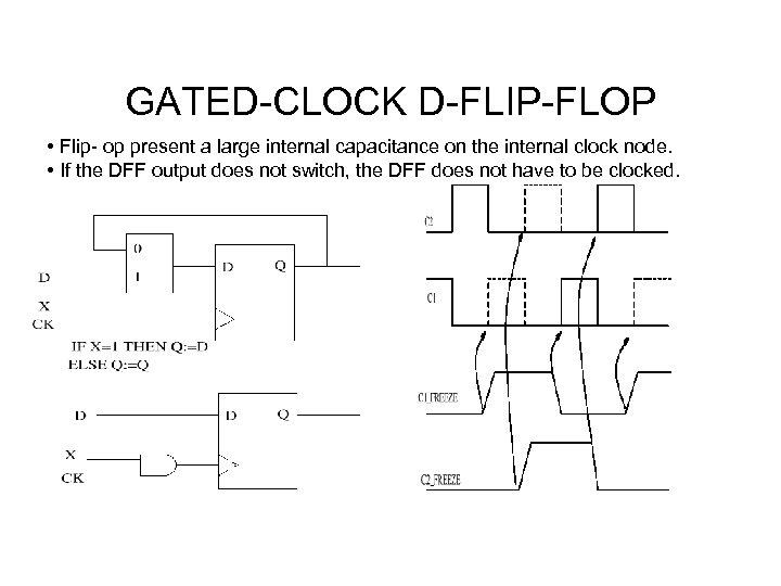 GATED-CLOCK D-FLIP-FLOP • Flip- op present a large internal capacitance on the internal clock