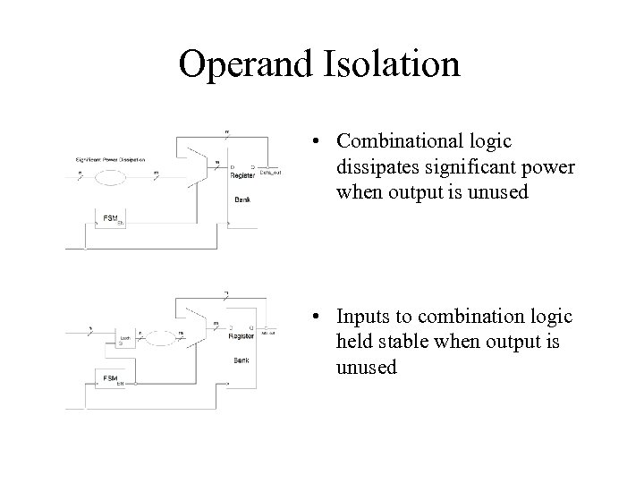 Operand Isolation • Combinational logic dissipates significant power when output is unused • Inputs