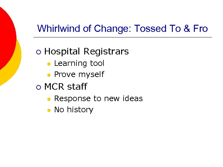 Whirlwind of Change: Tossed To & Fro ¡ Hospital Registrars l l ¡ Learning