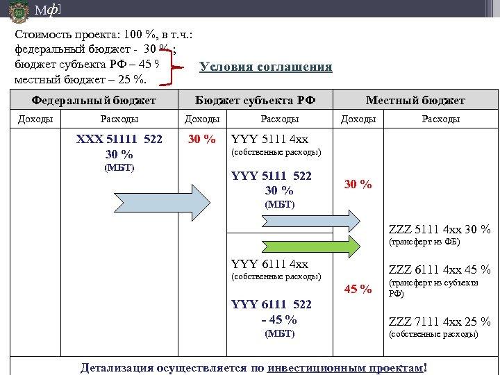 Мф] Стоимость проекта: 100 %, в т. ч. : федеральный бюджет - 30 %.