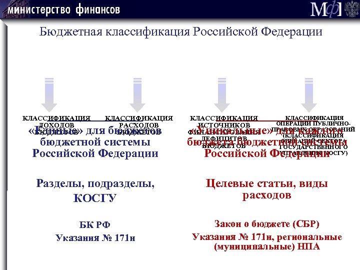Бюджетная классификация Российской Федерации _________________ КЛАССИФИКАЦИЯ ОПЕРАЦИЙ ПУБЛИЧНОРАСХОДОВ ИСТОЧНИКОВ «Единые» для бюджетов «Уникальные» для