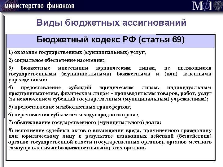 Виды бюджетных ассигнований Бюджетный кодекс РФ (статья 69) 1) оказание государственных (муниципальных) услуг; 2)