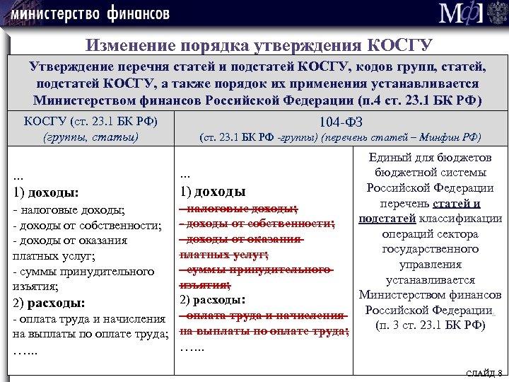 Изменение порядка утверждения КОСГУ Утверждение перечня статей и подстатей КОСГУ, кодов групп, статей, подстатей