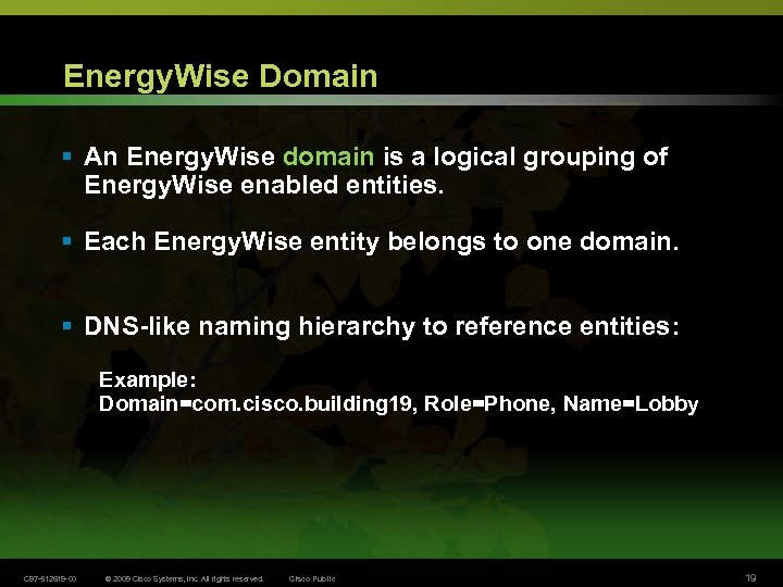 Energy. Wise Domain § An Energy. Wise domain is a logical grouping of Energy.